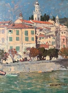 "Edgar Payne ""Horses and Carriage along the Loire River, Blois, France"" c. 1923, 15 x 11 inches, oil on canvas."